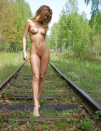 Blonde on a railway