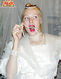 Absolutely vicious bride lifts her wedding-dress and stuffs her horny slit with a toy